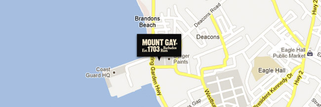 Map to Mount Gay Visitor Experience